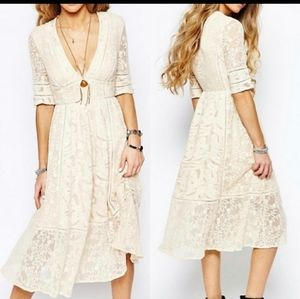 Free People Laurel Lace Cream Dress Boho 6 8